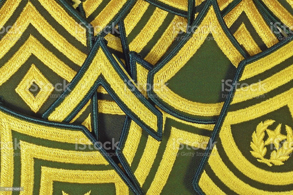Army US Rank Patches stock photo