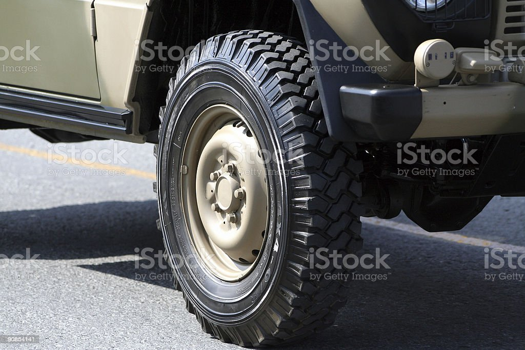 Army vehicle close-up stock photo