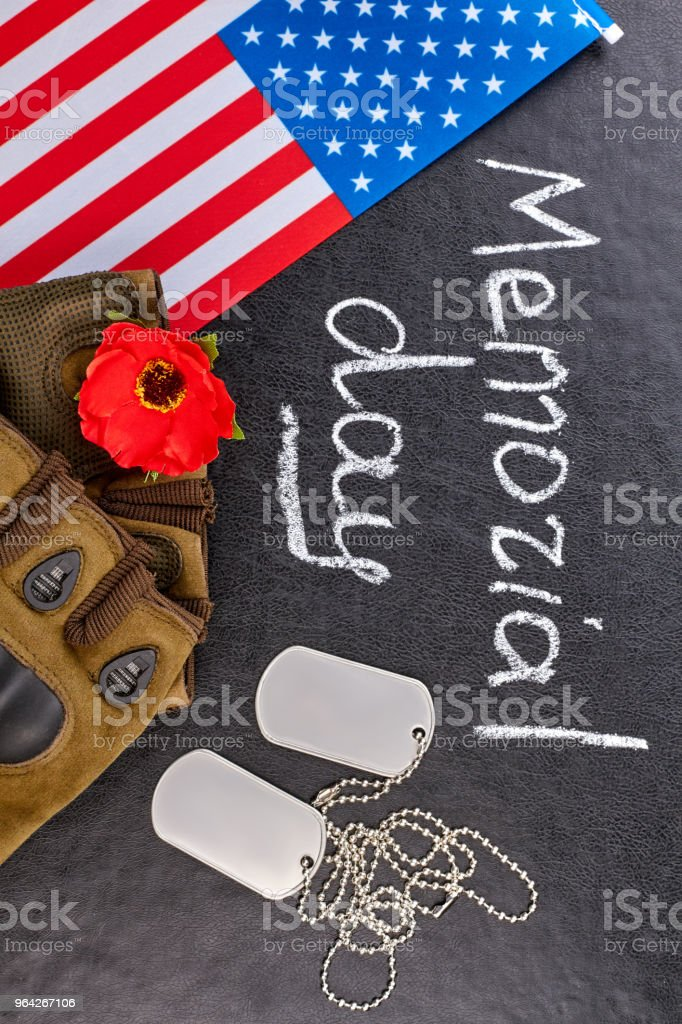 US army vetaran soldier's attributes for memorial day. stock photo