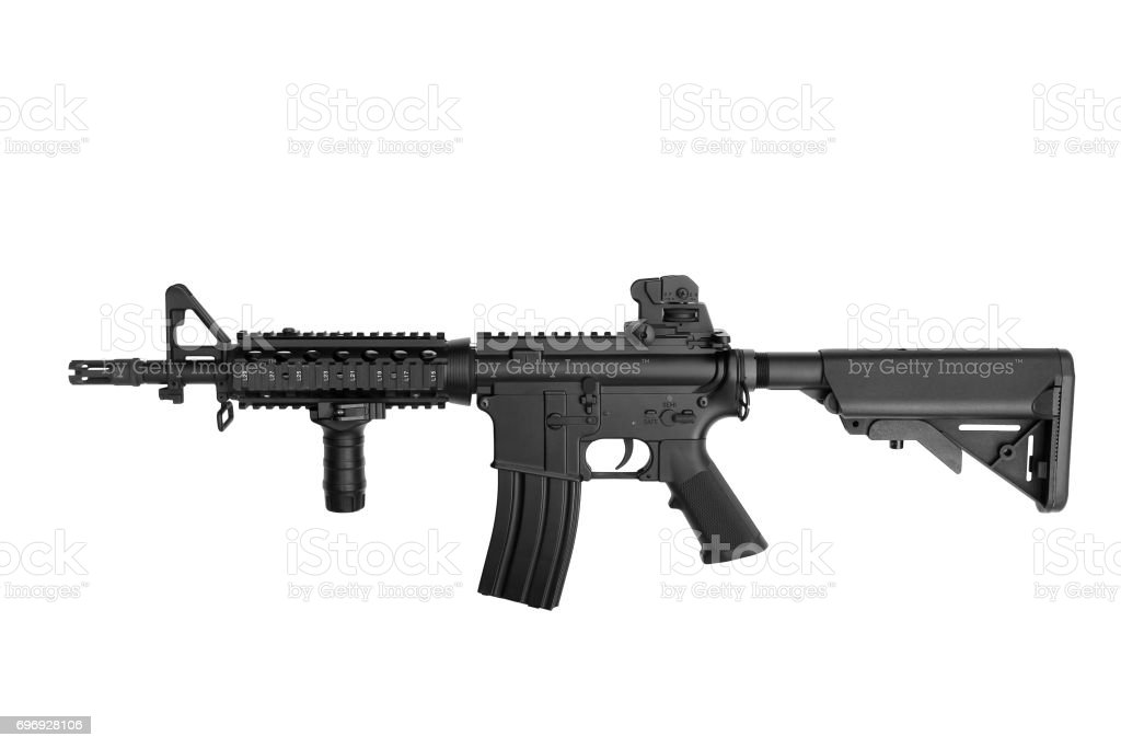 US Army weapon M4A1 carbine isolated on white background, Special forces rifle M4 with hand grip. stock photo
