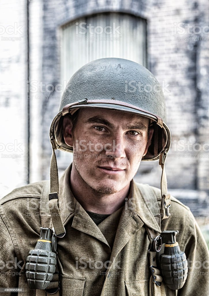 US Army World War II Infantry Combat Soldier Close-Up stock photo