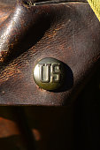 US army WWII motorcycle saddlebag with Civil War US brass button