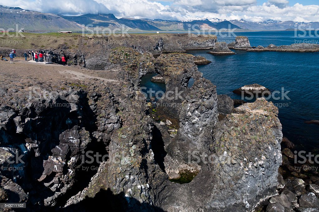 Arnarstapi rock formations of Iceland's coast stock photo