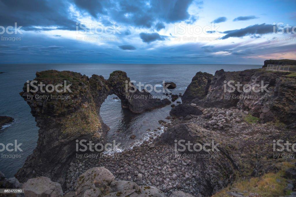 Arnarstapi town on Snaefell coast in Iceland stock photo
