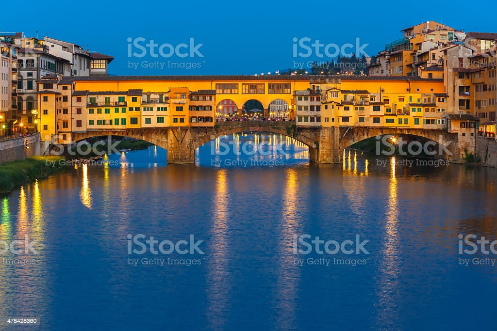 Arno and Ponte Vecchio at night, Florence, Italy stock photo