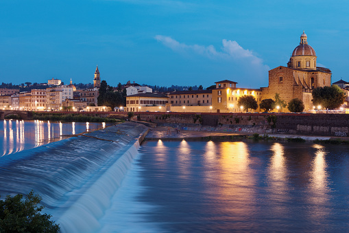 Arno river and cityscape of Florence, Italy