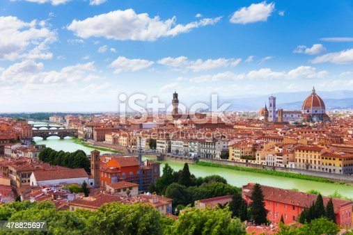 Arno river and Florence panorama with famous bridge towers and cathedral