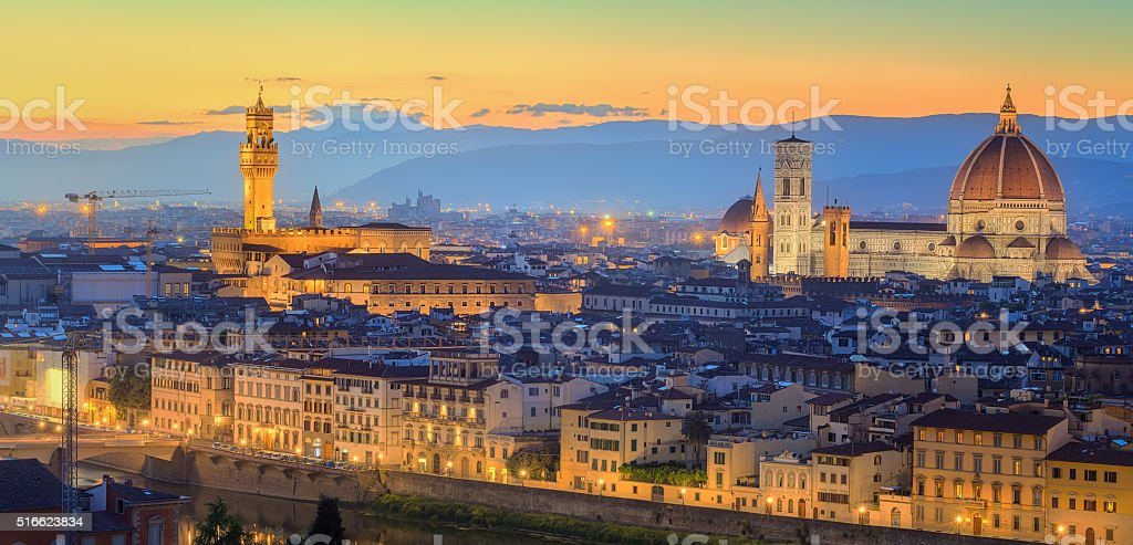 Arno River and Ponte Vecchio at sunset, Florence stock photo