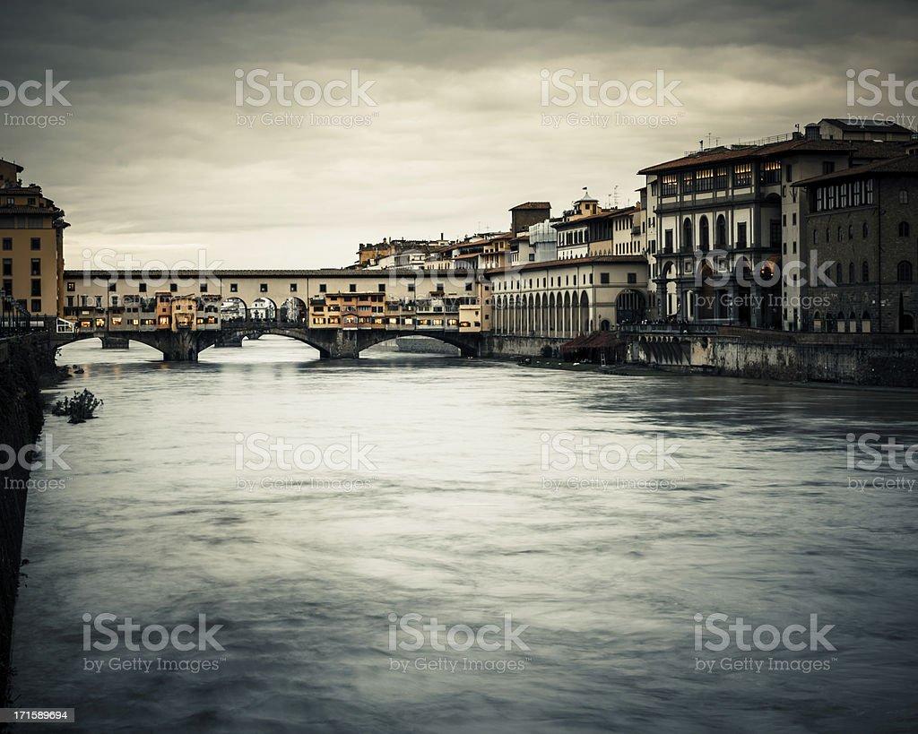 Arno River and Ponte Vecchio Bridge in Firenze, Italy stock photo
