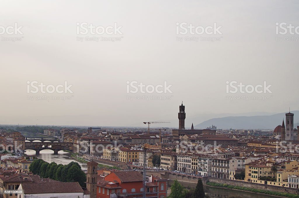 Arno river and Ponte Vecchio panorama of Florence stock photo
