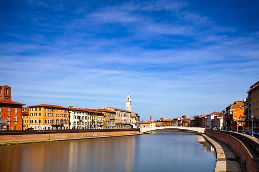 Arno River embankment Ponte di Mezzo bridge Pisa Tuscany Italy