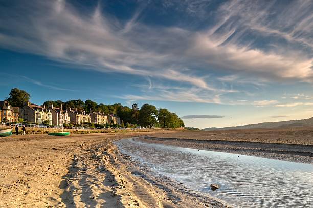 arnside at dusk - cumbria stock photos and pictures