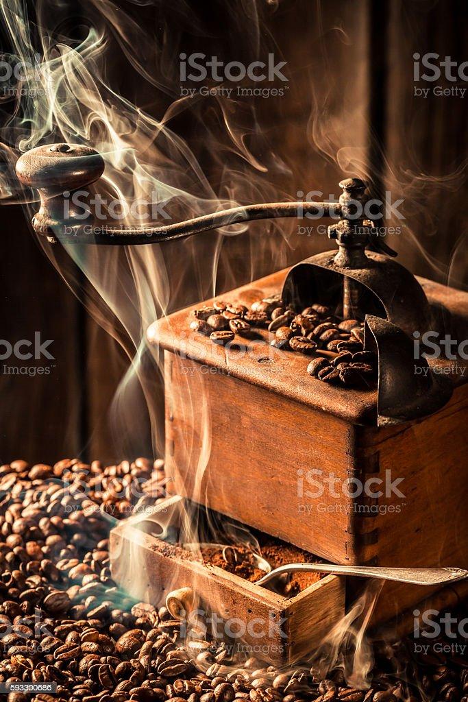 Aroma of roasted coffee seeds stock photo