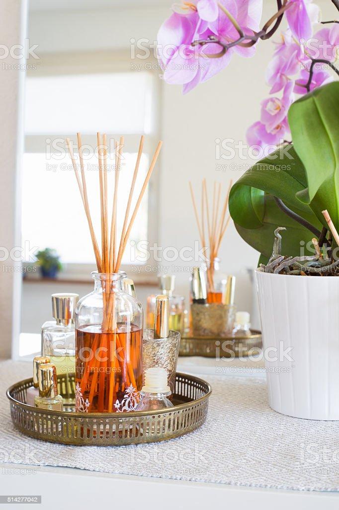 Aroma Reed difusor no interior de casa - foto de acervo