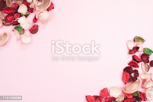 istock aroma therapy and spa object in spring season by minimal flat lay style with dry tropical leaf decorate on pink vintage background 1141456399