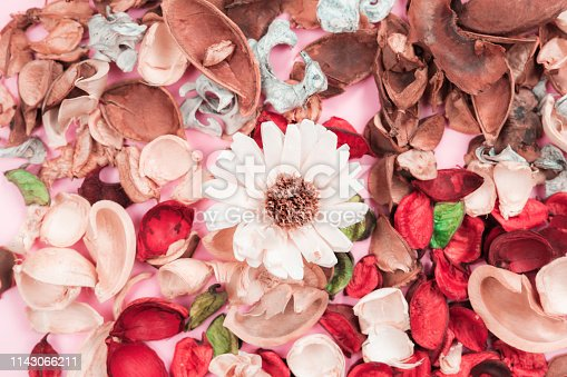 istock aroma therapy and spa object in spring season by minimal flat lay style with group of dry tropical leaf decorate on pink vintage background 1143066211