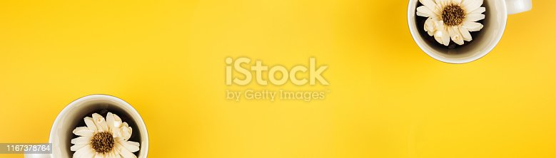 istock aroma therapy and spa object in spring season by minimal flat lay style with dry tropical leaf in coffee cup decorate on yellow vintage background and copyspace 1167378764