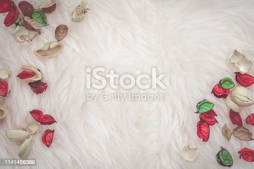 istock aroma therapy and spa object in spring season with red and green dry tropical leaf decorate on white wool or fur background with copy space 1141456366