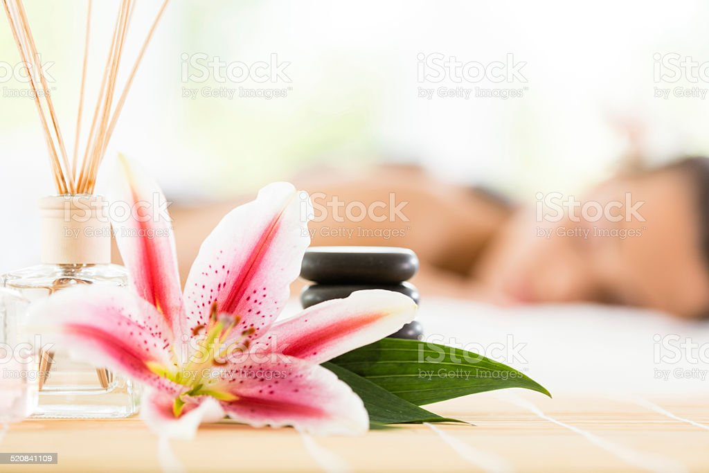 Aromatherapy and massage stock photo