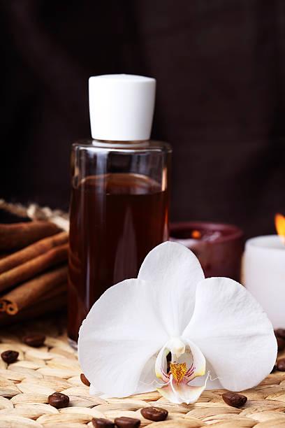 Aromatherapy and organic oils, body care stock photo