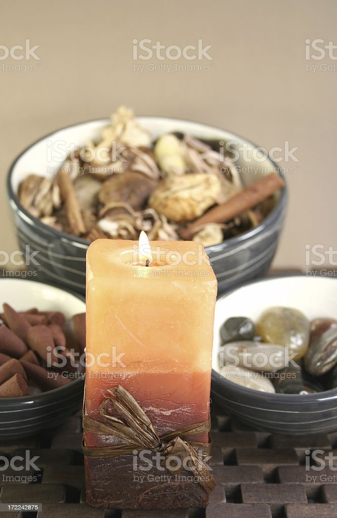 aromatherapy candle and dried flowers. - Royalty-free Alternative Medicine Stock Photo