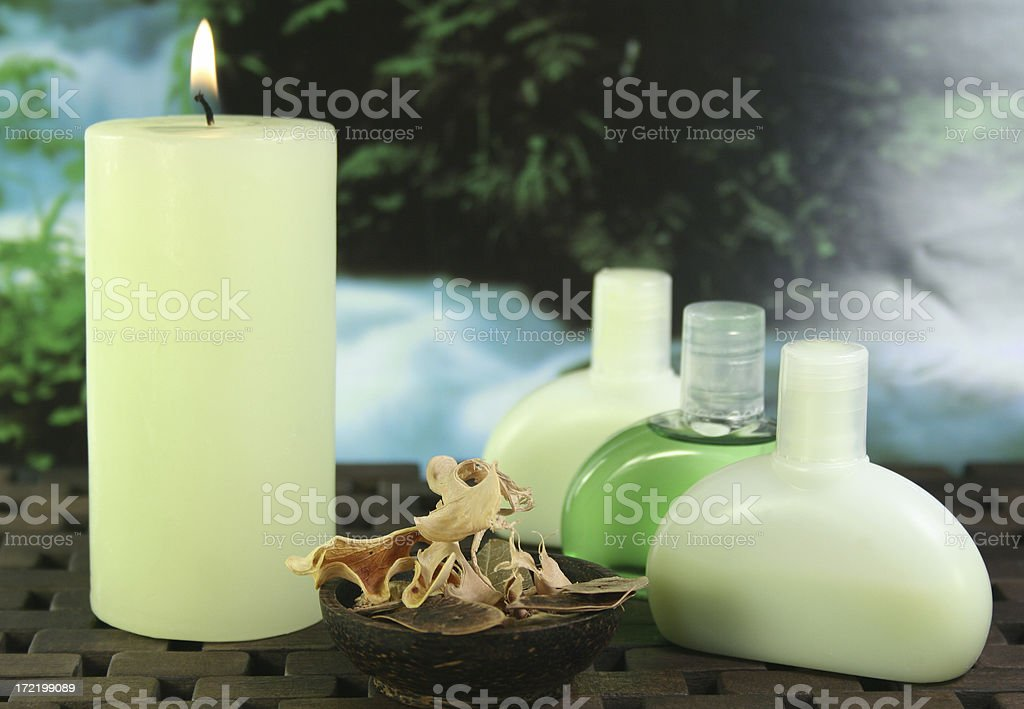 aromatherapy candles and oils royalty-free stock photo