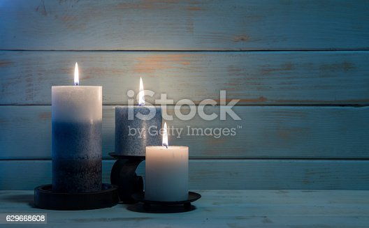 istock Aromatherapy Candles for Christmas and Hannukah Background 629668608