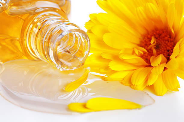 aromatherapy essential oil  with flower stock photo