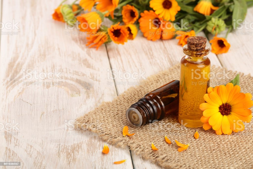 aromatherapy essential oil with fresh marigold flowers on white wooden background. Calendula oil stock photo