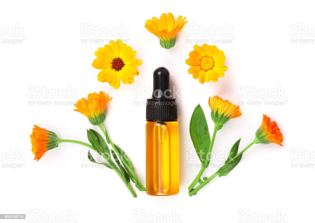 Aromatherapy essential oil with marigold flowers isolated white aromatherapy essential oil with marigold flowers isolated white background royalty free stock photo mightylinksfo