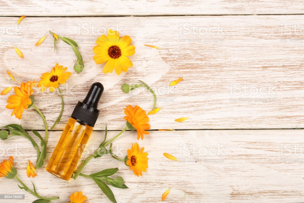 aromatherapy essential oil with marigold flowers on white background with copy space for your text. Top view stock photo