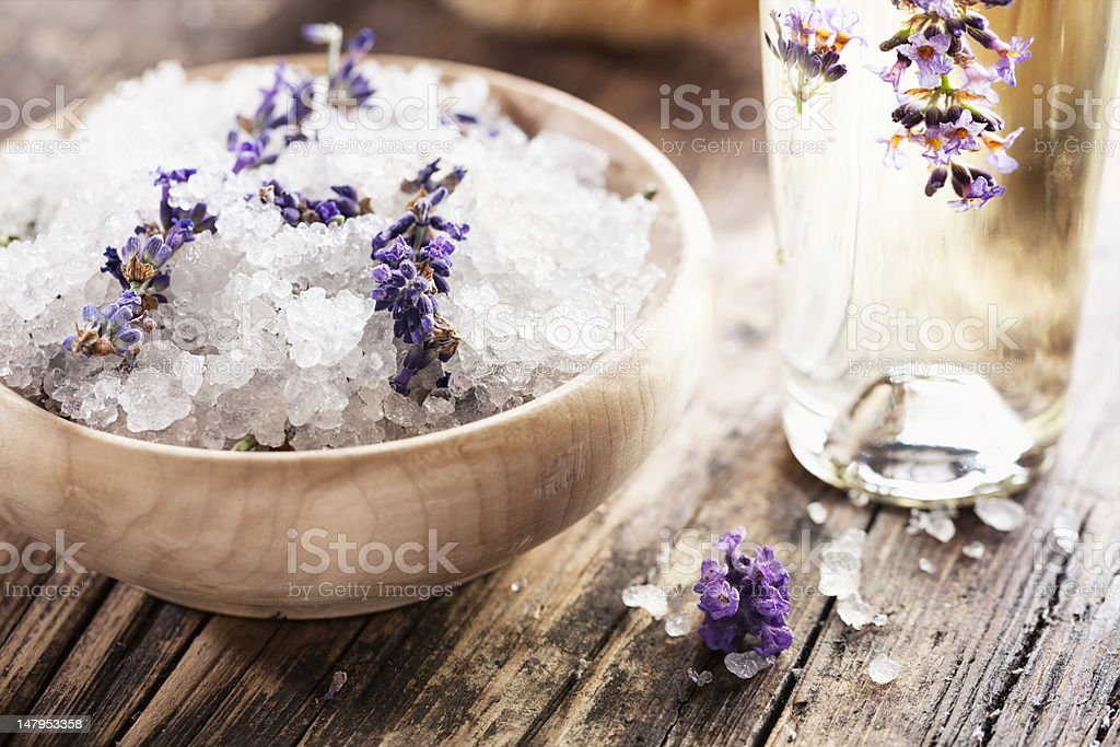 aromatherapy lavender bath salt and massage oil stock photo