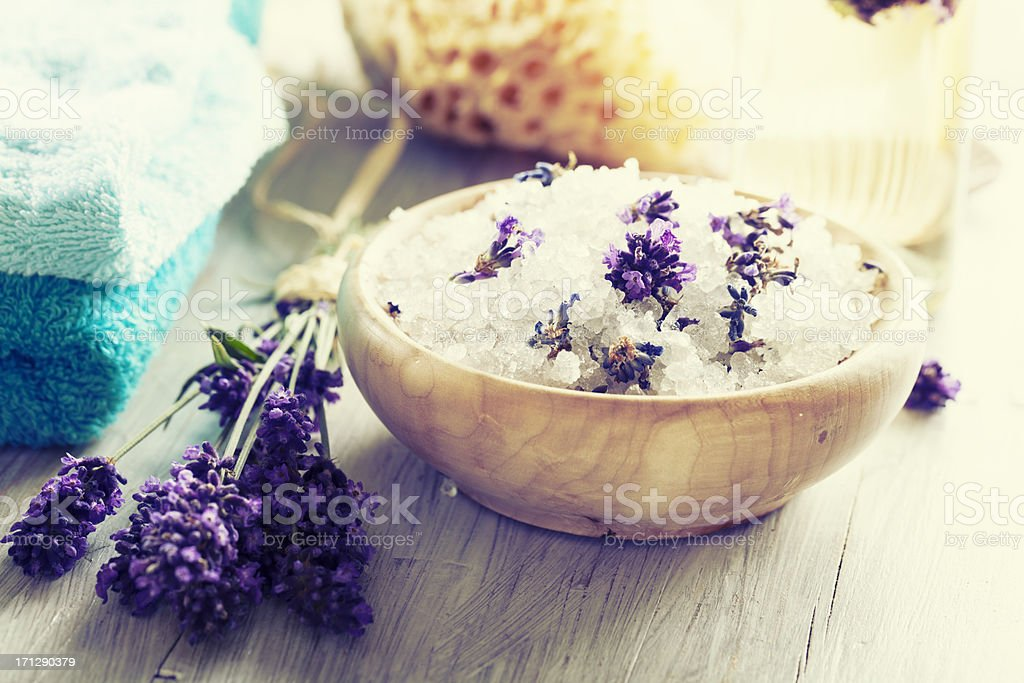 aromatherapy lavender bath salt and massage oil stock photo