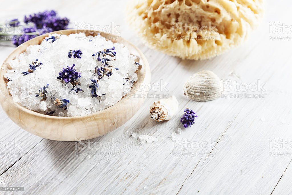aromatherapy lavender bath salt and seashells stock photo
