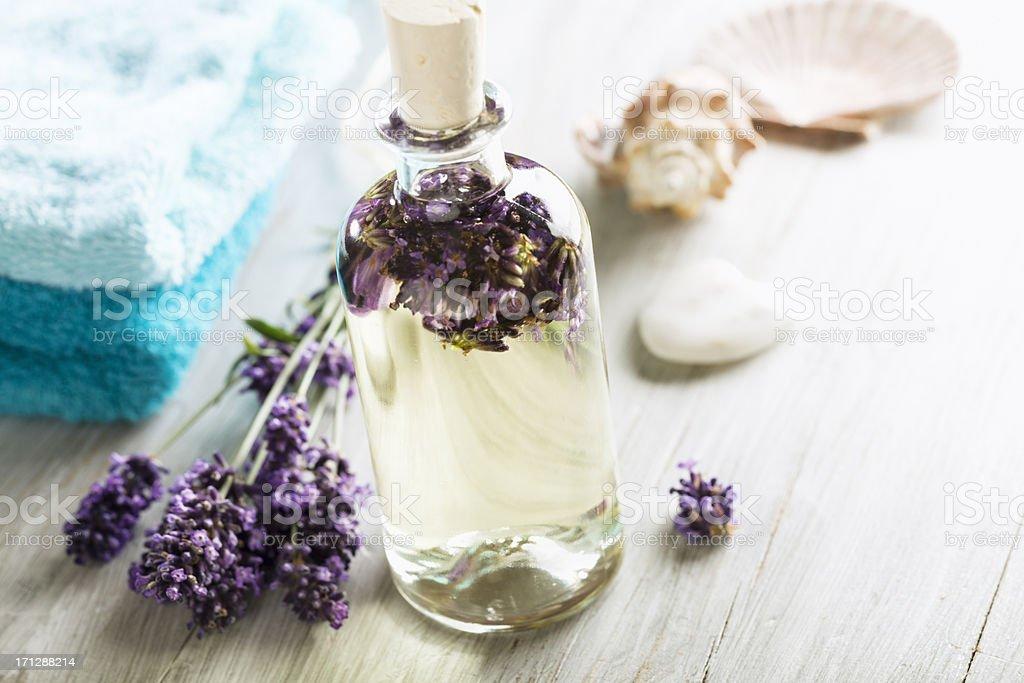 aromatherapy lavender massage oil stock photo