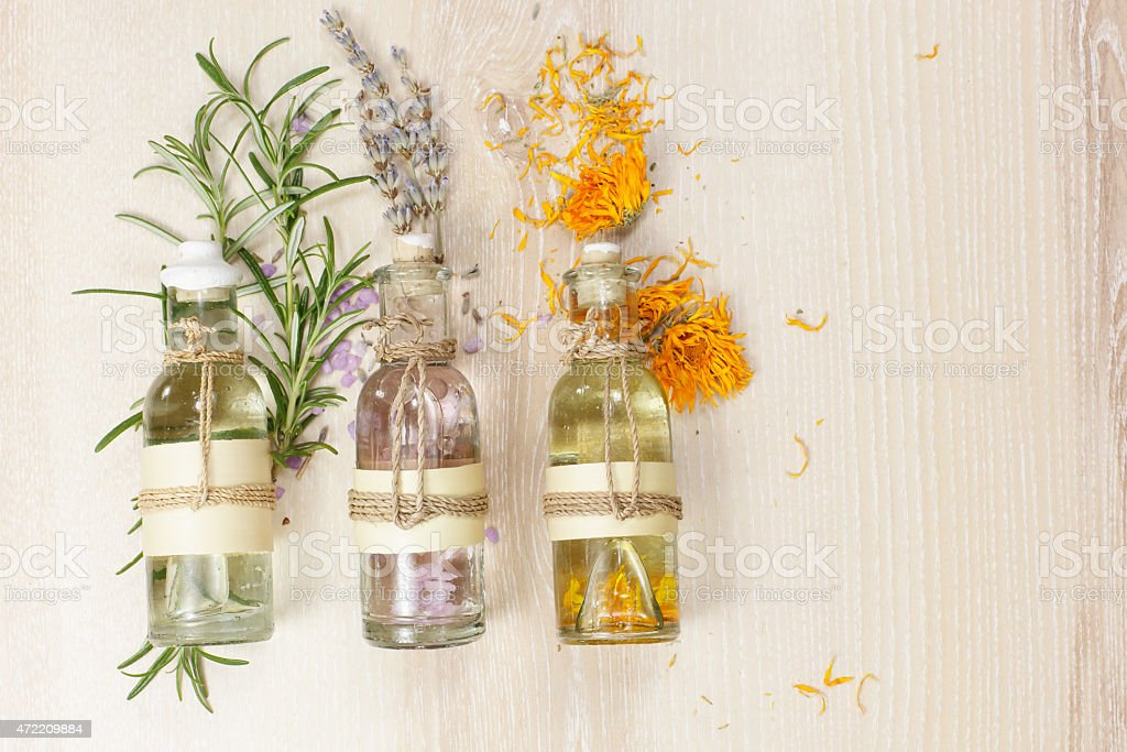 Aromatherapy massage oils stock photo