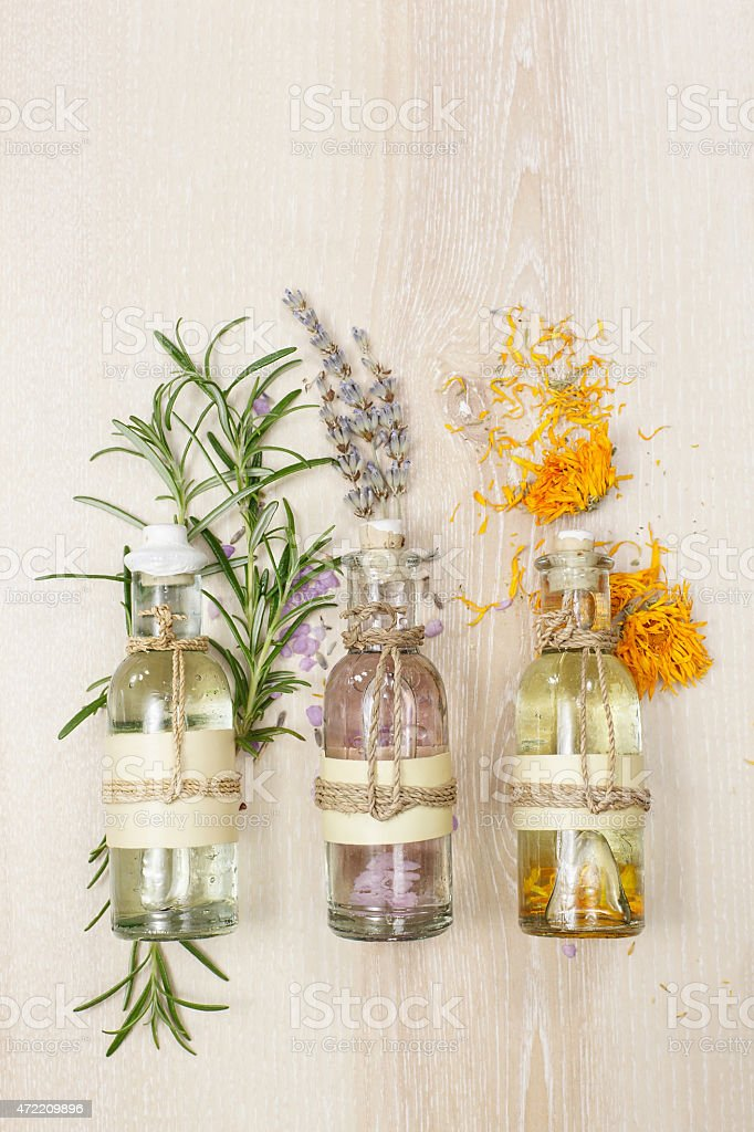Aromatherapy massage oils stock photo