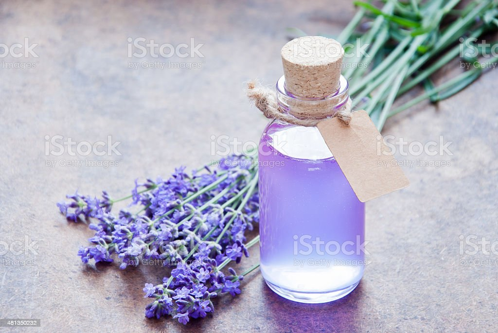 Aromatherapy oil and lavender stock photo