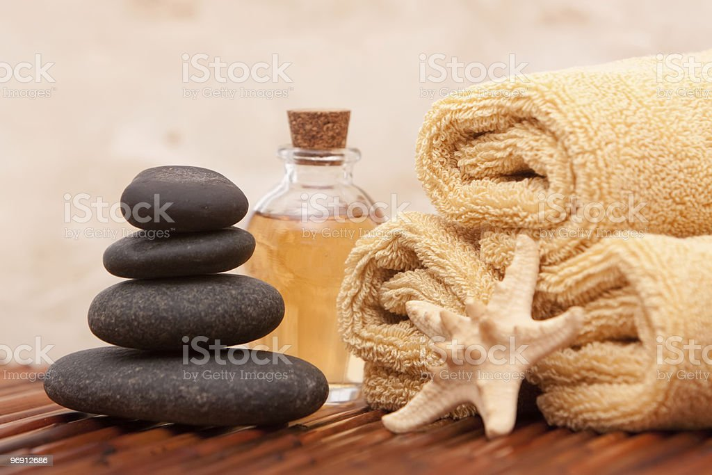 Aromatherapy oil and spa items royalty-free stock photo