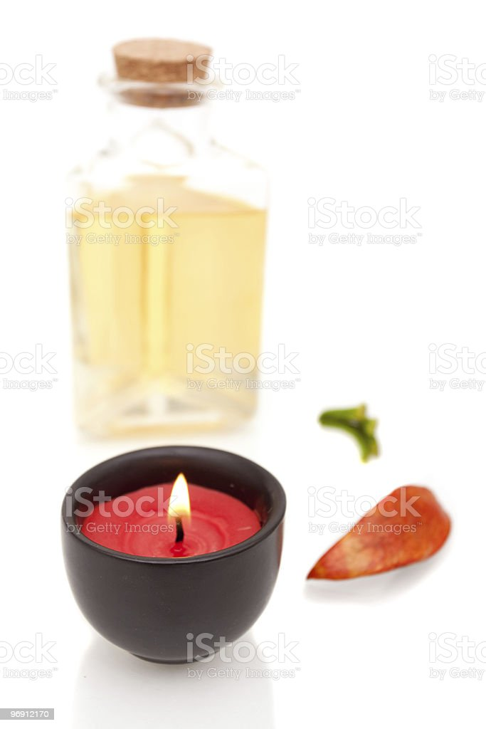 Aromatherapy oils and candle royalty-free stock photo
