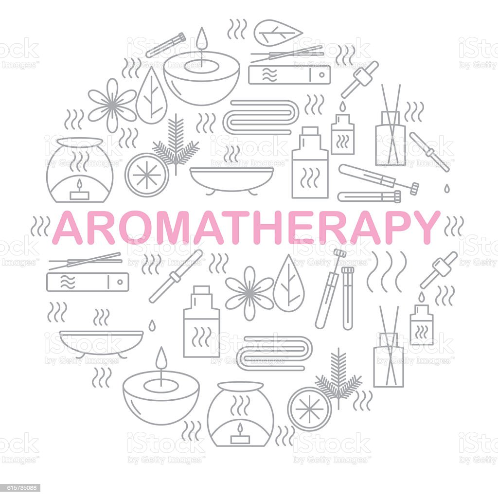 Aromatherapy. Round banner with icons aromatherapy. - foto de acervo