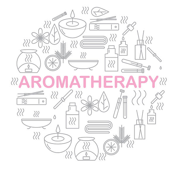 Aromatherapy. Round banner with icons aromatherapy. - foto de stock