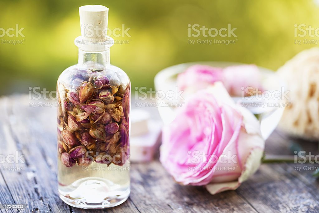 aromatherapy scent of roses massage oil royalty-free stock photo