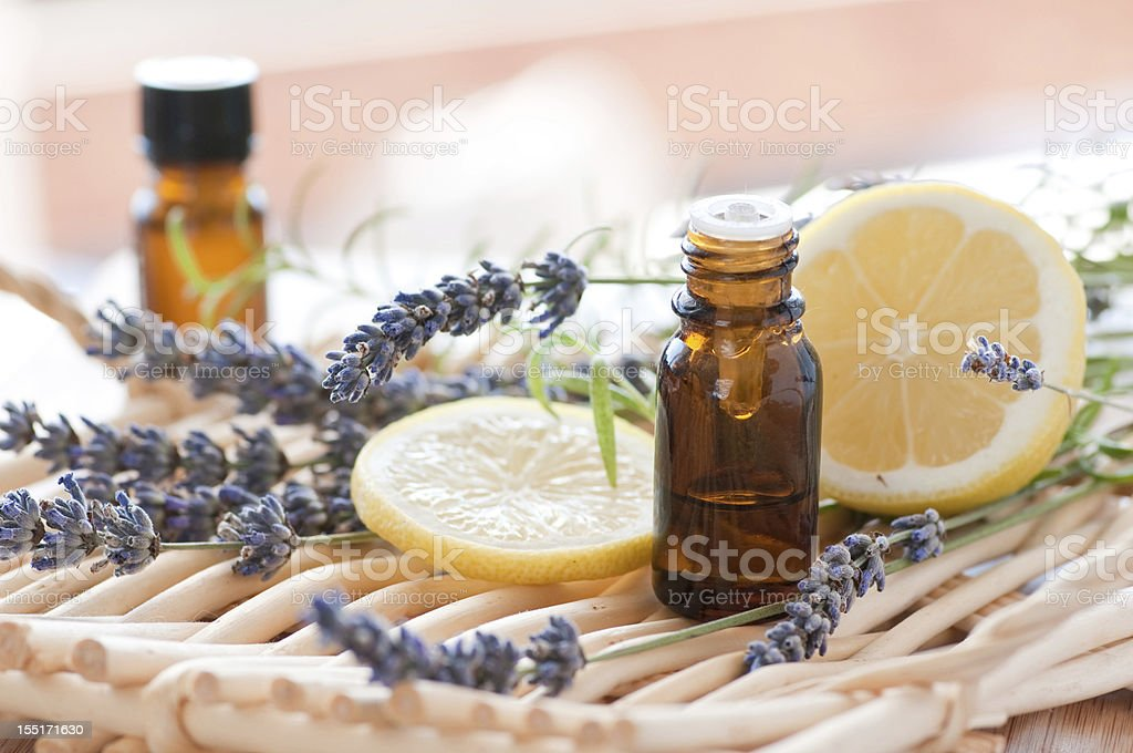 Aromatherapy set of items on a table stock photo