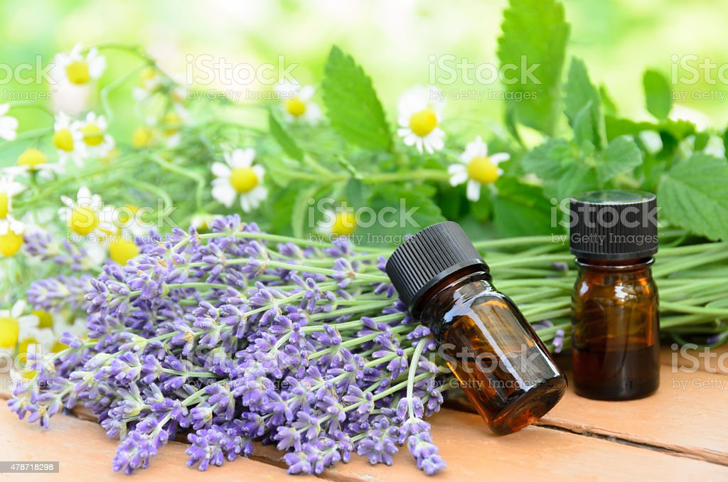 aromatherapy treatment with herbal flowers stock photo