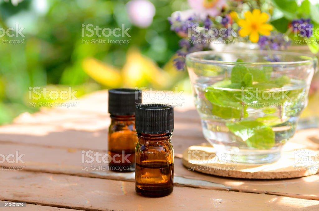 aromatherapy treatment with herbal tea stock photo