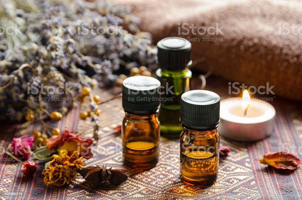 aromatherapy treatment with herbs stock photo