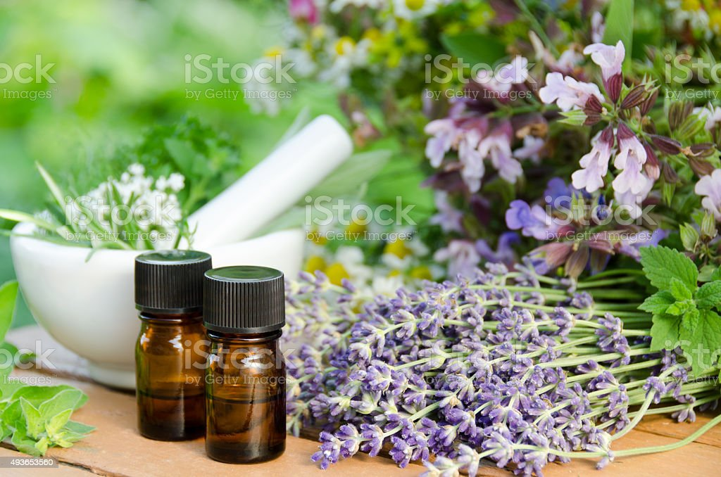 aromatherapy treatment with mortar and medicinal plants stock photo