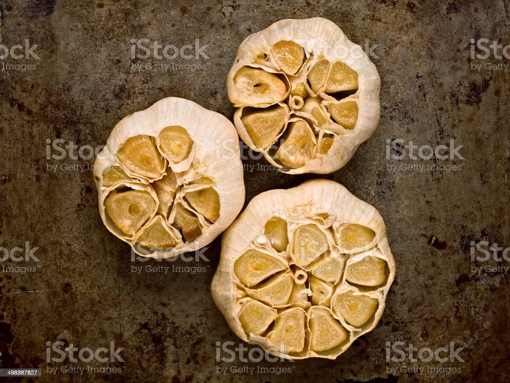 aromatic baked garlic stock photo