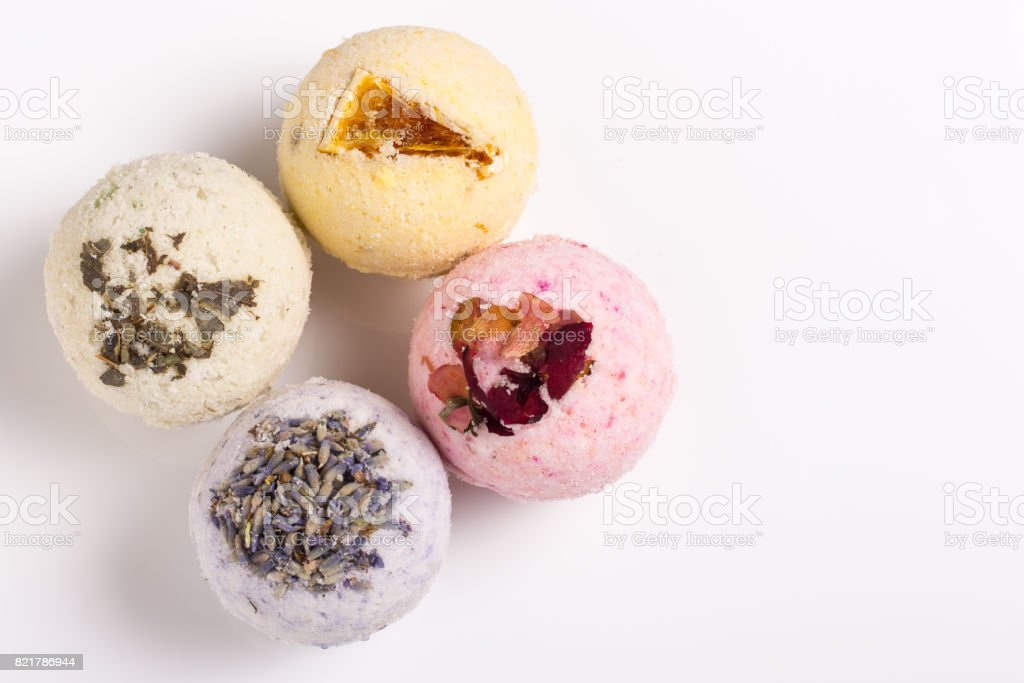 Aromatic bath bombs on a white stock photo